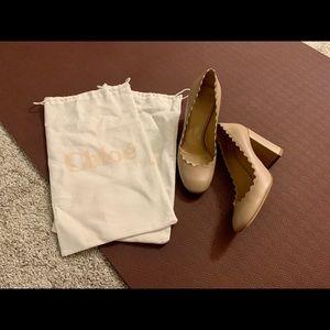 Chloe Lauren scallop-edged high block-heel pumps